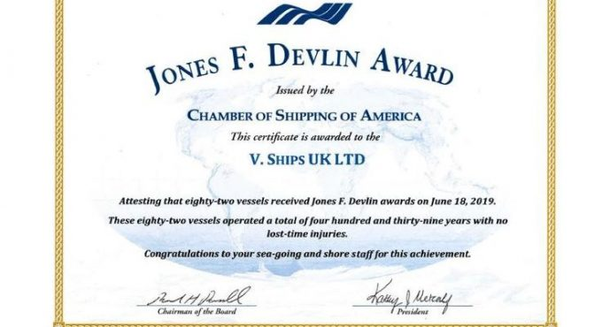V.Group Glasgow office recognised for outstanding safety by Chamber of Shipping of America